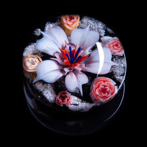 White Flower Memorial Ashes Paperweight