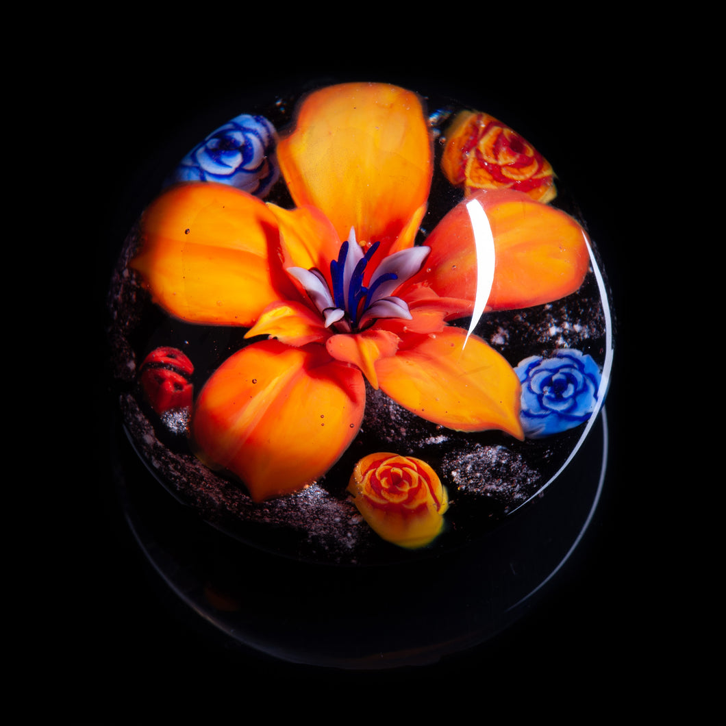 Orange Flower Memorial Ashes Paperweight