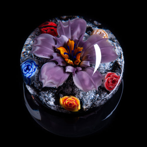 Purple Flower Memorial Ashes Paperweight