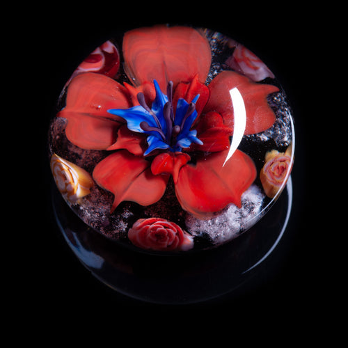 Red Flower Memorial Ashes Paperweight