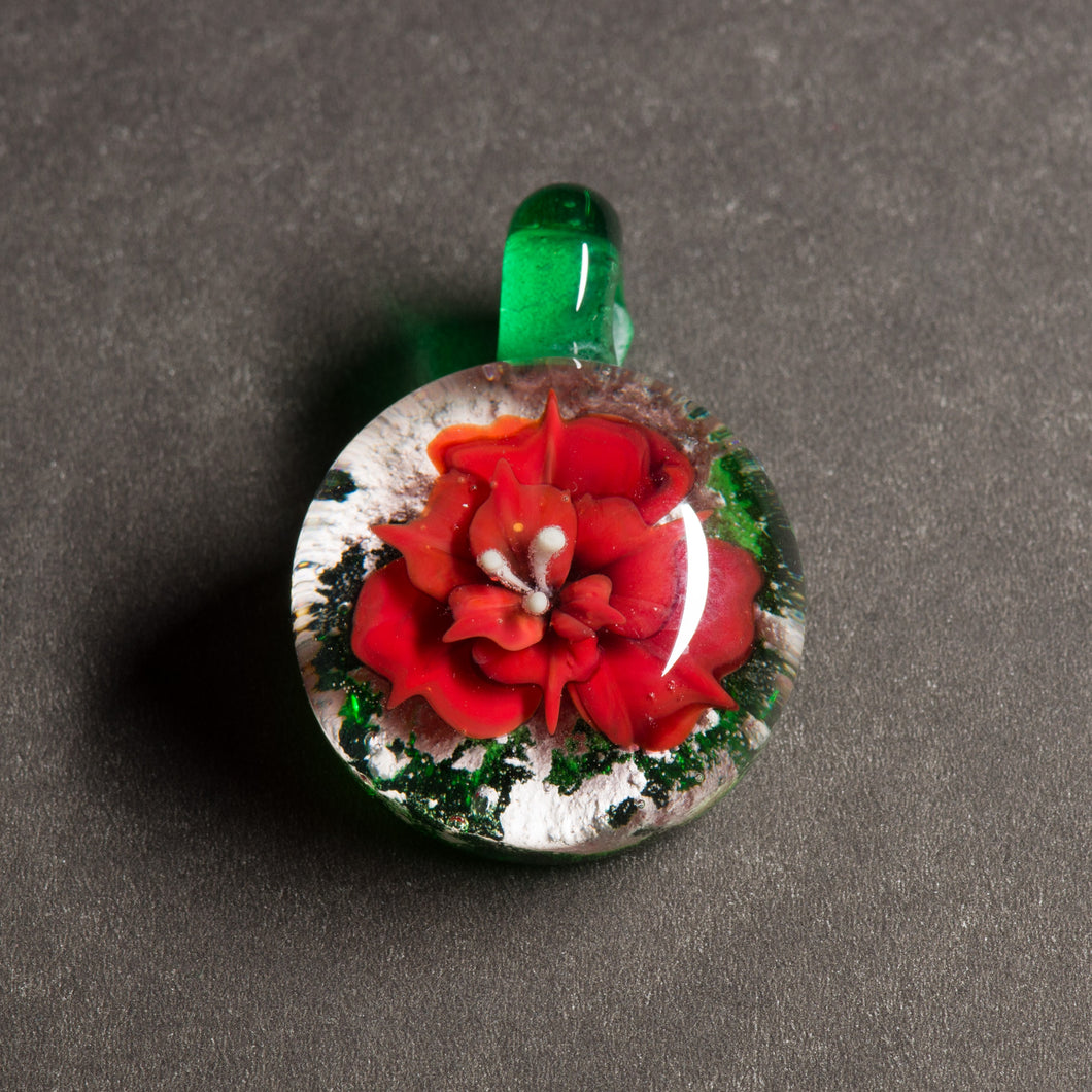Red Flower Memorial Pendant