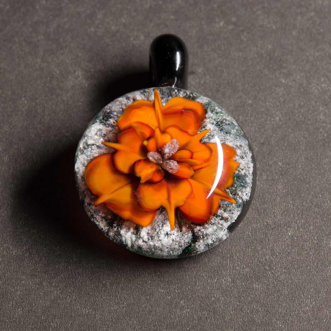 Orange Flower Memorial Pendant