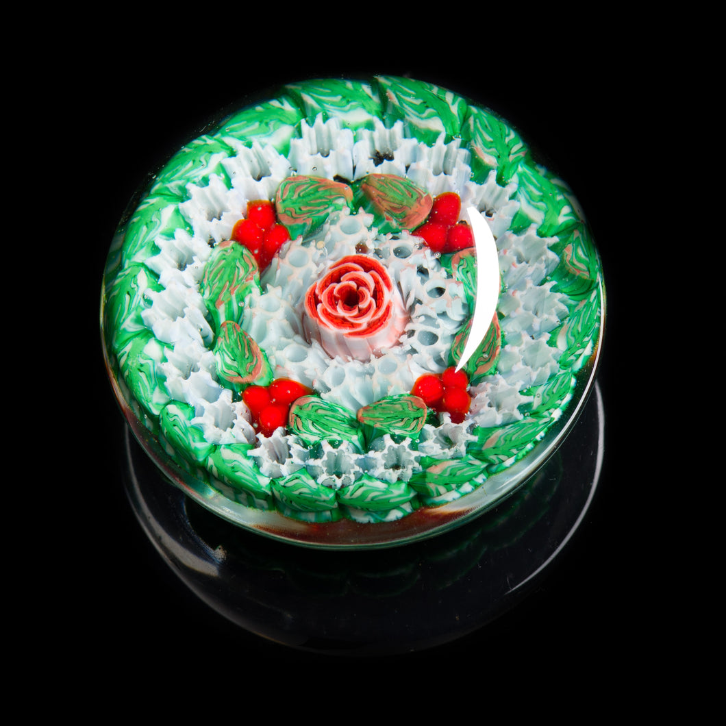 Artisan flameworked Lampwork Glass Holly Reef Millefiori Paperweight
