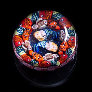Artisan flameworked Lampwork glass Mermaids, fish and Ocean Millefiori Paperweight