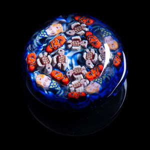 Artisan flameworked Lampwork glass Mermaids, clown fish and Turtles Ocean Millefiori Paperweight