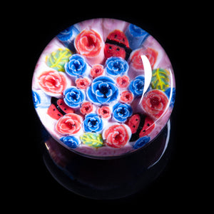 Artisan flameworked Lampwork Glass Pink and Blue Roses Millefiori Paperweight