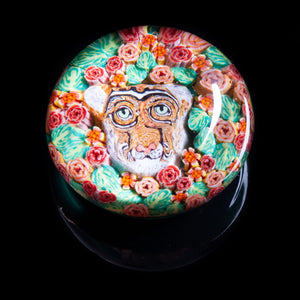 Artisan flameworked Lampwork glass Cougar with flowers Paperweight