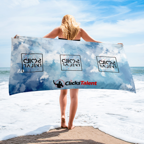 Clicks Talent Glitch Beach Towel