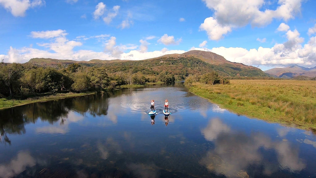 River SUP touring with a Snowdonia backdrop