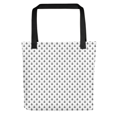 Black Anchor Pattern Tote bag - Ink Apparel Company