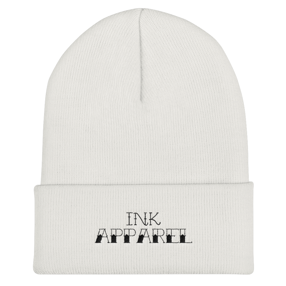 Black Text Logo Cuffed Beanie - Hat - Ink Apparel