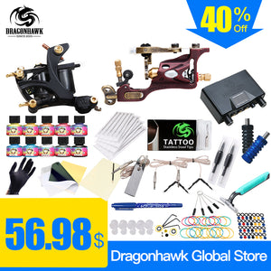 Complete Tattoo Kit Rotary Tattoo Machine Coils Machine Dragonhawk Power Supply 10 Colors USA Ink Set -  - Ink Apparel
