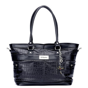 Little Company - Black Label Croco Tote Bag Black Luiertas