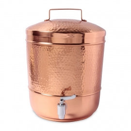 Hammered Copper Water Storage Pot, 7 Liters