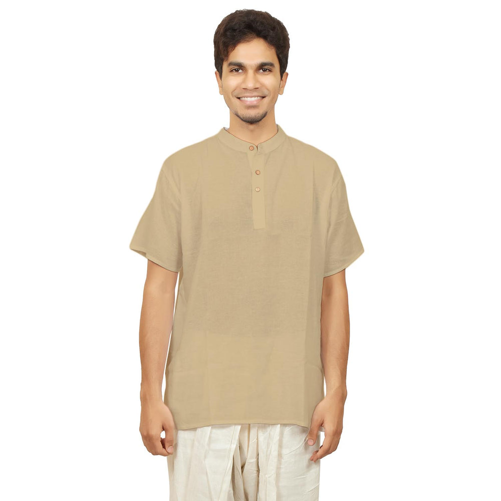 Kurta in Hemp - Short Sleeve - Beige