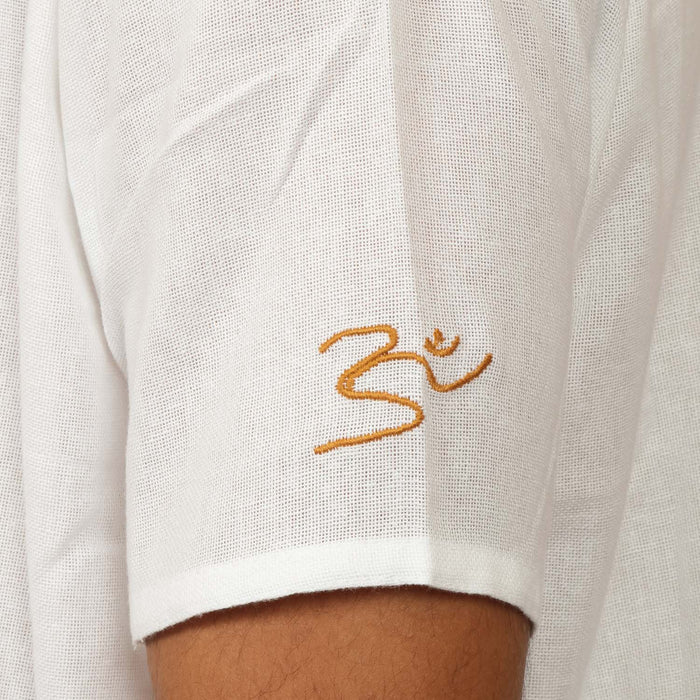 Organic Cotton AUM Embroidered Kurta - White (Men)