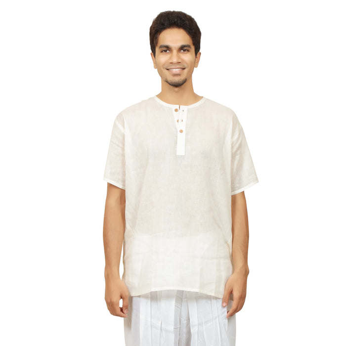 Kurta in Hemp - Short Sleeve - White