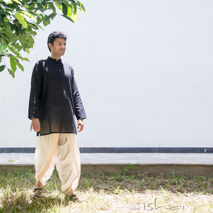 Kurta in Hemp - Long Sleeve - Black