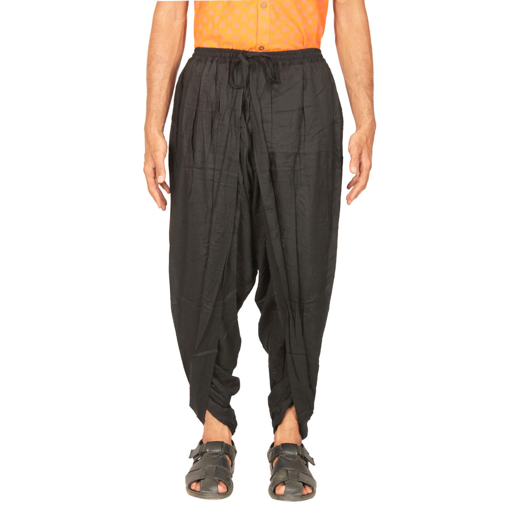 Cotton Dhoti Pant - Black