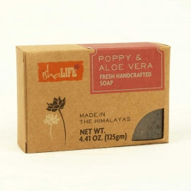 Poppy & Aloevera Handmade Soap, 125 gm