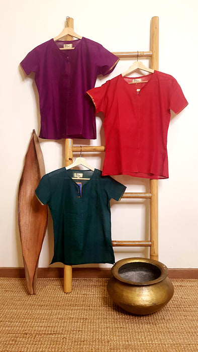 Women Colourful Mangalagiri Cotton Top