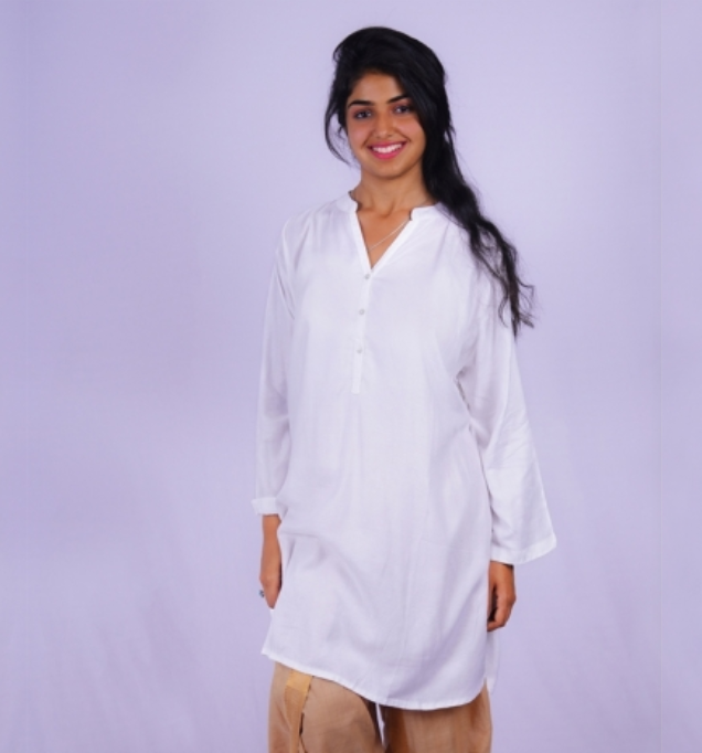 Ladies V Neck Kurta Style - White