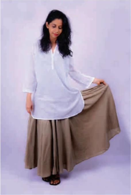 Ladies V Neck Kurta Style White