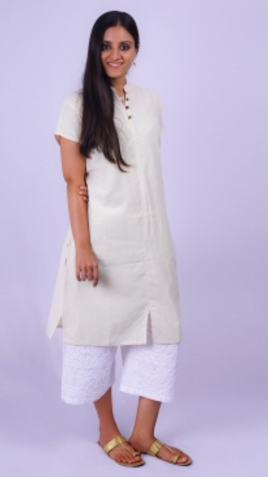 Ladies Undyed Organic Cotton AUM Kurta - Off-White