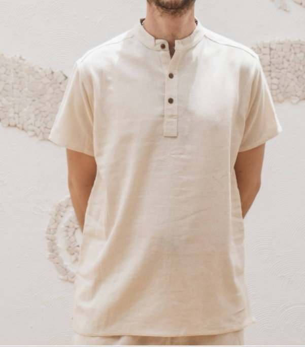 Men Undyed Organic Cotton AUM Kurta - Off-White