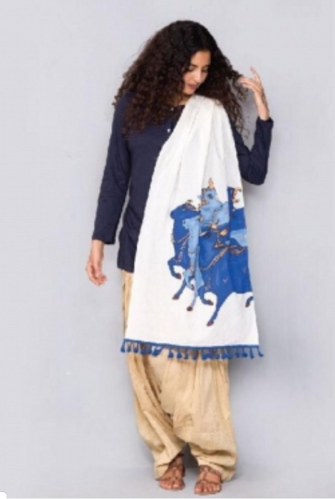 Nandi Organic Cotton Shawl - Off White