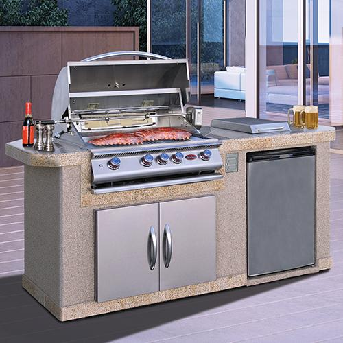 Cal Flame BBQ Island With Refrigerator And Side Burner LBK-701 - Cal Flame