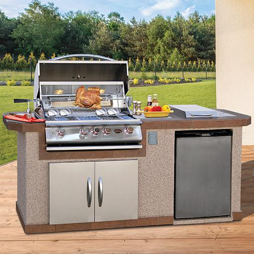Cal Flame BBQ Island With Refrigerator And Side Burner LBK-710 - Cal Flame