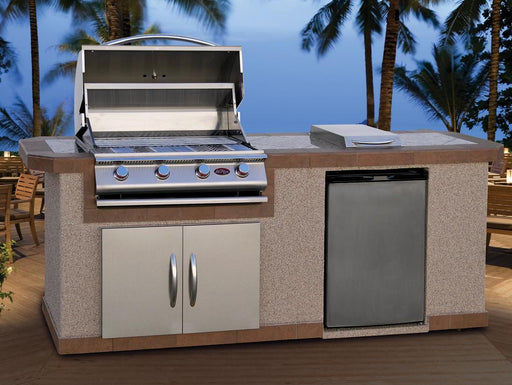 Cal Flame BBQ Island With Refrigerator And Side Burner LBK-801 - Cal Flame