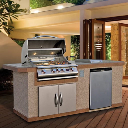 Cal Flame BBQ Island With Refrigerator And Side Burner LBK-810 - Cal Flame