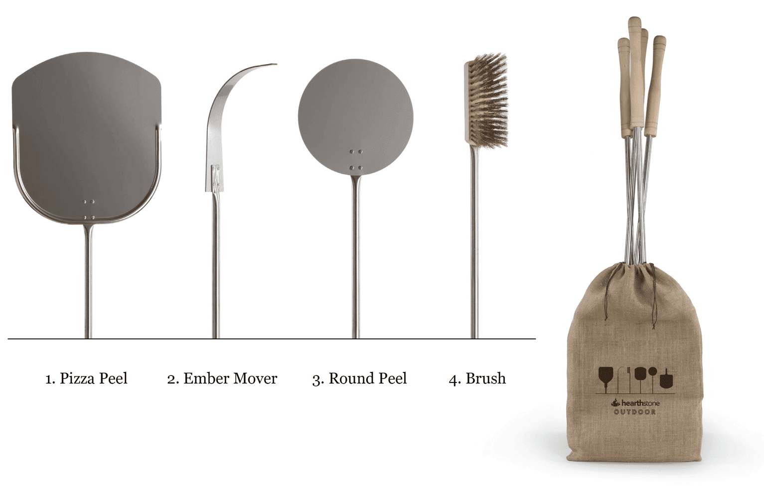 Pizza Peel And Tool Set - 4 Pieces - Hearthstone