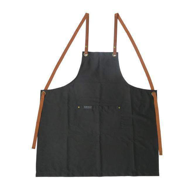 Premium Cotton Apron with Brown Leather Finish Color: Black