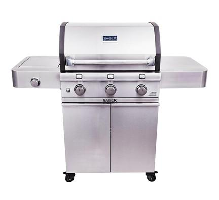 SABER 3-Burner Cast Stainless Cart Grill