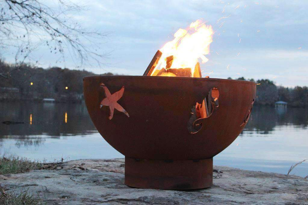 Sea Creatures Steel Fire Pit - Fire Pit Art