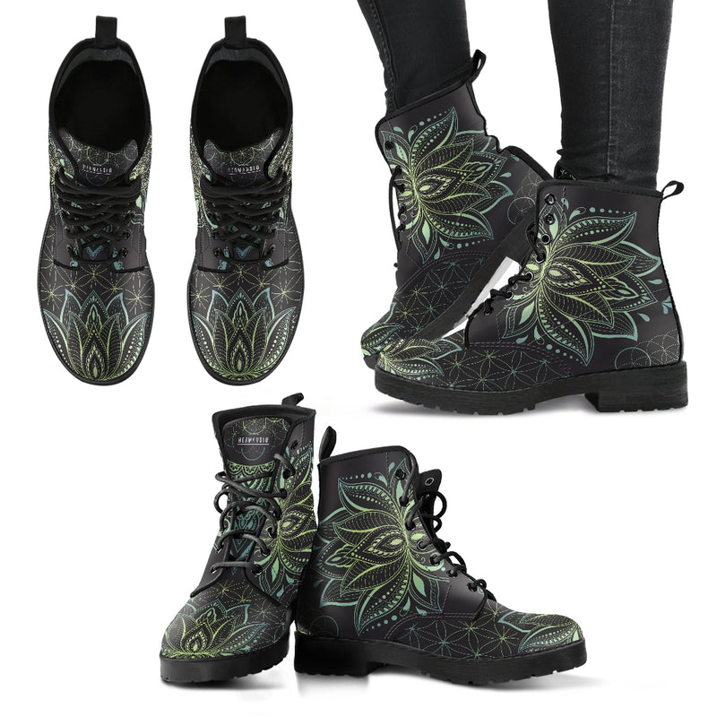 JADE GREEN LOTUS FLOWER BOOTS