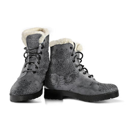 GREY MANDALA FAUX FUR BOOTS