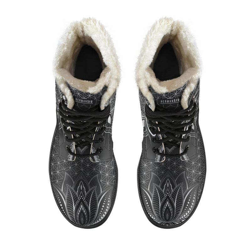 GREY LOTUS FAUX FUR BOOTS