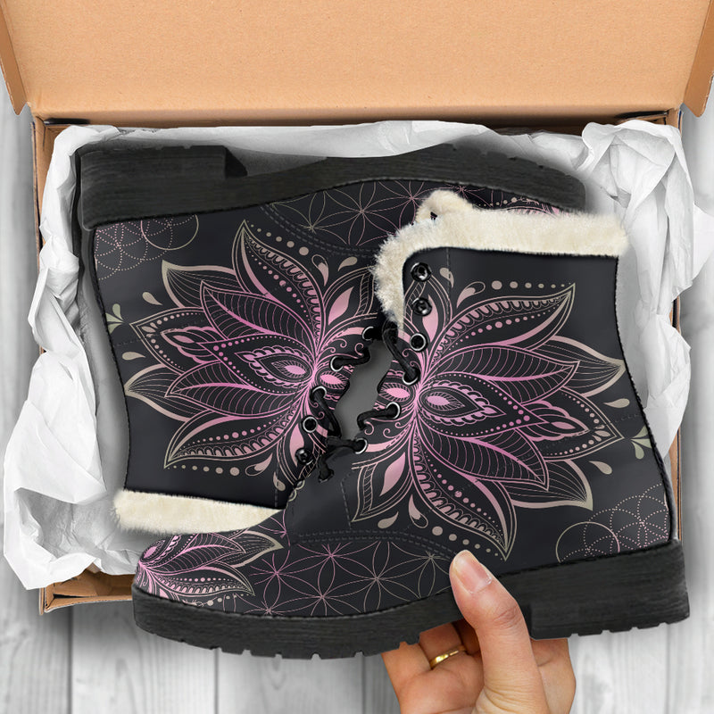 PINK LOTUS FAUX FUR BOOTS