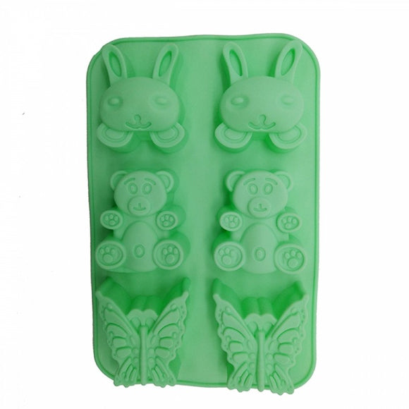 6 Cavity Silicone Mould Tray Animal Pattern Non-Stick Muffins for Jelly Cake Ice Cube