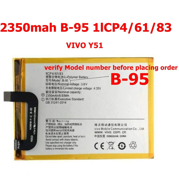 Original. Vivo Y51 and Y51L Battery [ Model: B-95 ] 2350mAh Replacement Battery