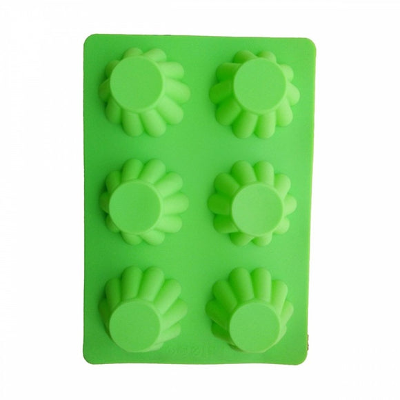 6 Cavity Cupcake Pattern Non-Stick Silicone Mould Tray Muffins For Jelly Cake Ice Cube