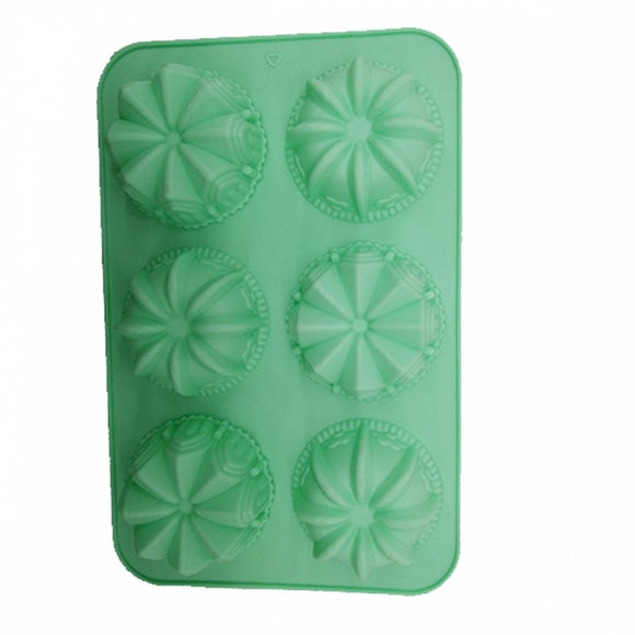 6 Cavity Silicone Mould Tray Flower Pattern Non-Stick Muffins for Jelly Cake Ice Cube