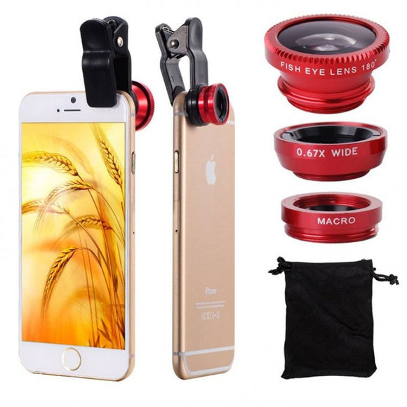 3 In 1 Universal Clip Mobile Phone Camera Lens Fish Eye + Macro + Wide Angle