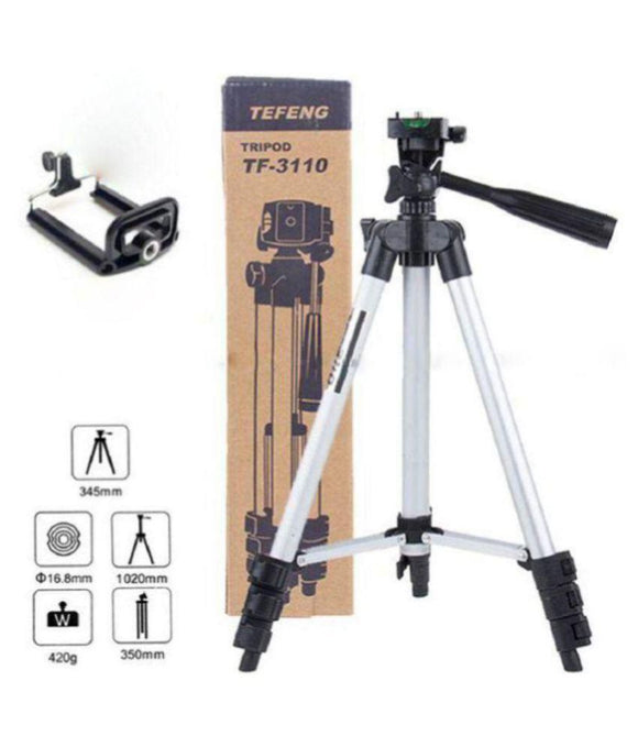 3110 Tripod Portable Camera Stand With Mobile Clip Holder Bracket