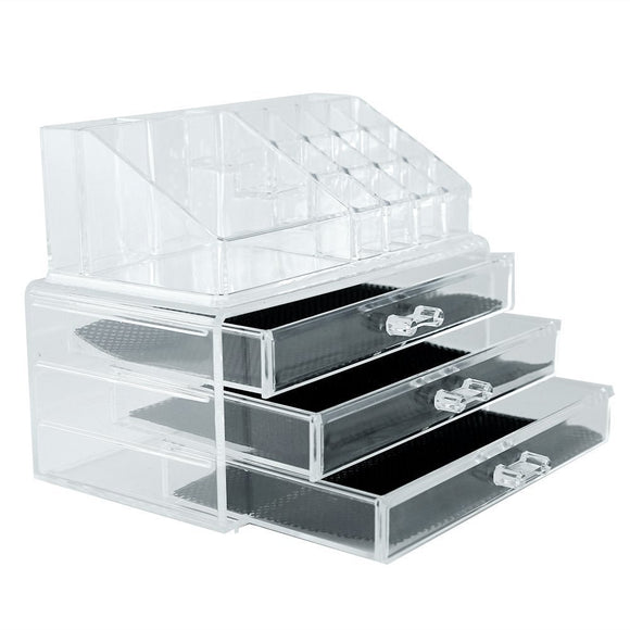 Acrylic Cosmetic and Make up Organizer Cum Storage Box 16 Slots and 3 Drawers Two Pieces Set