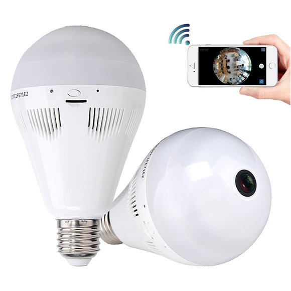 Panoramic Bulb Camera WiFi IP Light Fisheye Lamp Wireless Camera
